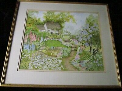 Large Old Pretty Country Cottage Garden Flowers Painting Signed Framed