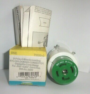 Leviton 71530 C 3 Pole 4 Wire Grounding Locking Connector 30 Amp 250V L15 30 Nib