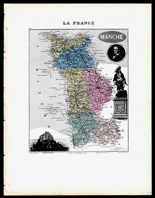 Alexandre Vuillemin Map of France Mont St Michel Normandy Hand-Colored Engraved