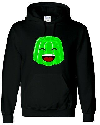 Green Jelly Face Kids Black Hoodie Gaming Gamer Youtuber Fan Size 12-13 XL SALE