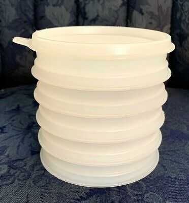 5 Tupperware #882 Small Hamburger Patty Stackable Storage Containers & Lid...VTG