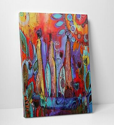 Colourful African Tribal Oil Paint Culture Canvas Print Wall Art A2 A1 A0 Size