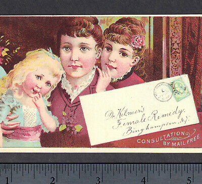 Dr Kilmers Female Blood Remedy Cancer Cure Headache stamp Victorian Trade Card