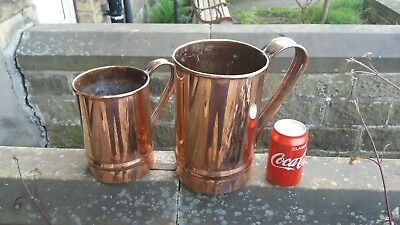 "Pair of large ANTIQUE COPPER PUB MEASURES ""THE PLOUGH"" vintage"