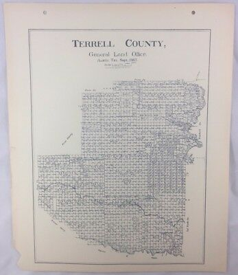 Antique General Land Office Map Terrell County Texas Showing Plats ++