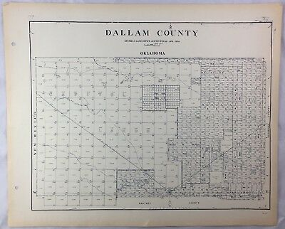 Antique General Land Office Map Dallam County Texas Showing Plats ++