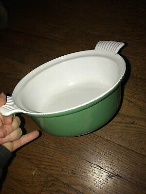 Vintage Cast Iron Enamelware Green Round Dish