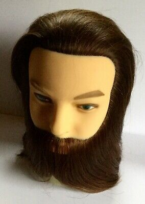 Hairealm Man Training Hairdressing With Beard Styling Mannequin Doll + Clamp