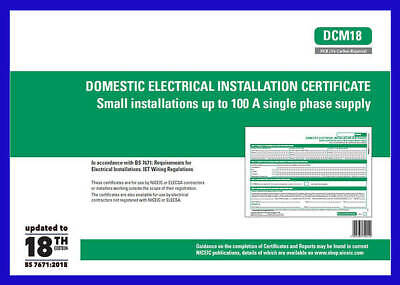 Domestic Electrical Installation Certificate  Small Installations BK DCM18