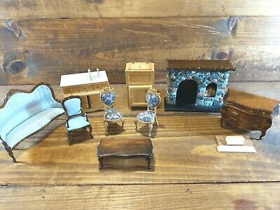 WOODEN DOLLHOUSE FURNITURE Lot vintage Michaels Victorian,icebox,fireplace