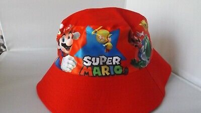 Children's Cotton Bucket Hat - Mario Bros - Red