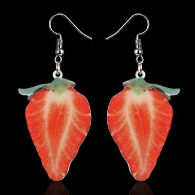 Fashion Delicious Fruit Dangle Strawberry Earrings Hook Womens Lady Jewelry Gift