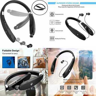 4d55291ad1d Bluetooth Headset Headphones SX991 Wireless Neckband Design W Foldable Retr  BLUE
