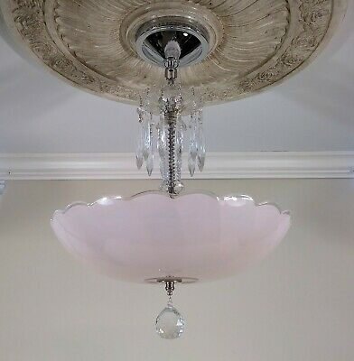 "Antique Art Deco Ceiling Light Fixture Chandelier with 14"" Pink Shade"