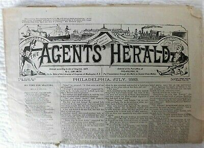 Vintage illustrated newspaper 1883 The Agents Herald Philadelphia + advertising