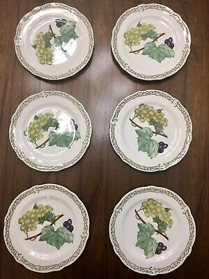 Set Of 6 Noritake Royal Orchard Fruit Pattern Bread Salad Plates 9416 FREE SHIP!