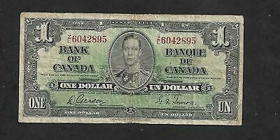Canadian Money: 1937 Issue $1.00 Bill, George Vi Note, #Zl6042895, Gordon/Towers