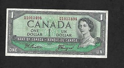 Canadian Money: 1954, $1.00 Bill, Queen Elizabeth Ii, One Dollar #Hm1013494 Cir