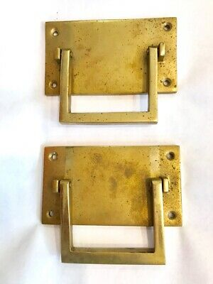 "Vintage Pair 2 Brass Asian Trunk Handles 4.5"" L, 2.5"" W, 3"" H"