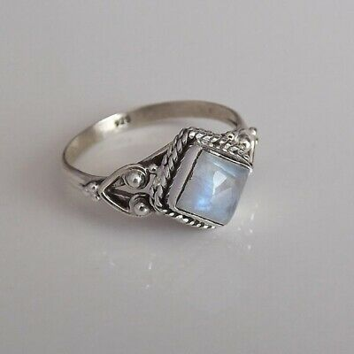 Vintage Silver Plated Square Crystal Bohemian Wedding Party Rings Retro Jewelry