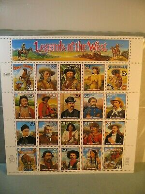Souvenir Sheet Of Legends Of The West 32 Cent Stamps 1993, Scott #2869, Mnh, New