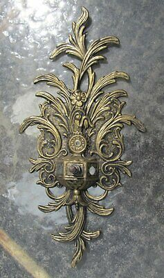 Vintage Ornate Hollywood Regency Cast Metal Wall Sconce Light Back Plate Part
