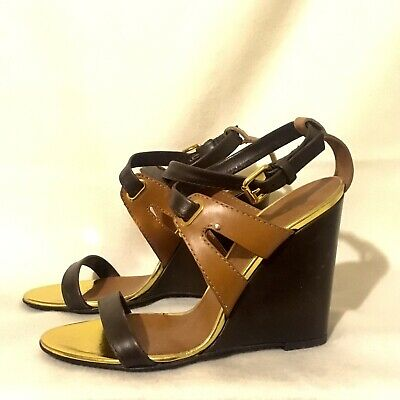 befb37898e90d Sexy GIUSEPPE ZANOTTI Dark Brown Tan Gold Buckle Strappy Wedge Sandals Size  36.5