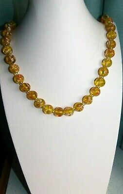 Jewellery  Gorgeous Orange & Gold Floral Murano Glass Ball Bead Necklace 59