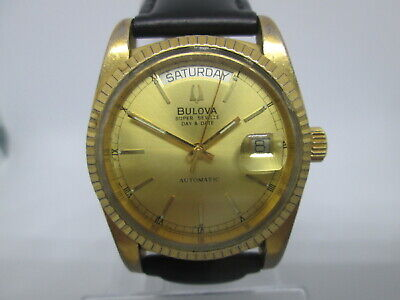 Bulova Super Seville Daydate Goldplated Automatic Mens Watch
