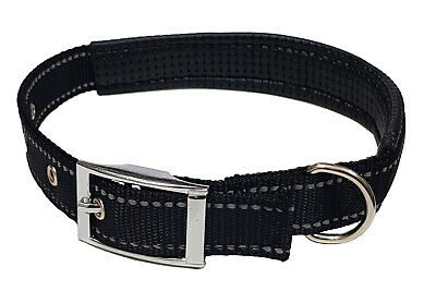KIEPAWS Reflective Leather Padded Dog and Puppy Collar Black SMALL/MEDIUM/LARGE