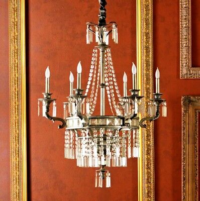 Restoration Hardware Replica French Empire Style Bronze Crystal Glass Chandelier