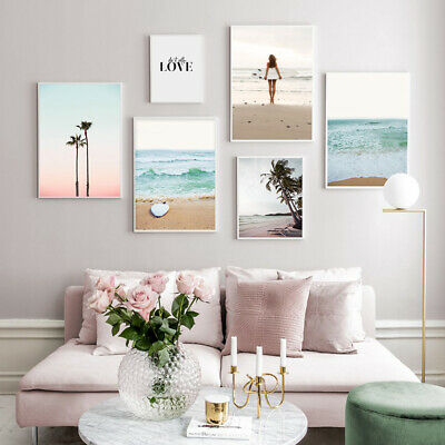 Surf Board Sea Beach Poster Canvas Wall Art Print Palm Tree Landscape Picture
