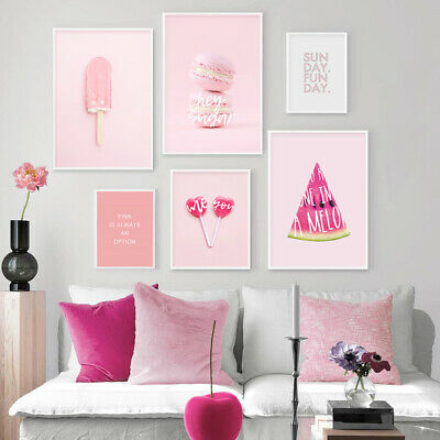 Pink Sweet Candy Food Art Poster Wall Canvas Print Ins Style Fashion Picture