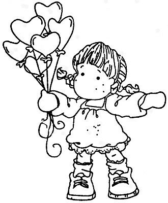 Little Girl with Balloons - Stamp and Die Set - AUSTRALIAN STOCK