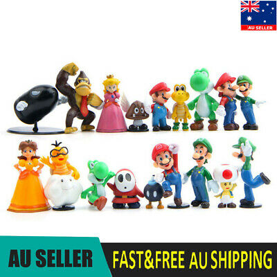 Super Mario Bros 18 PCS Action Figure Doll Toys Kids Gifts Cake Toppers Decor