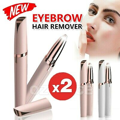 2 PCS Electric Brow Remover Razor Face Eyebrow Trimmer Facial Hair Removal LED