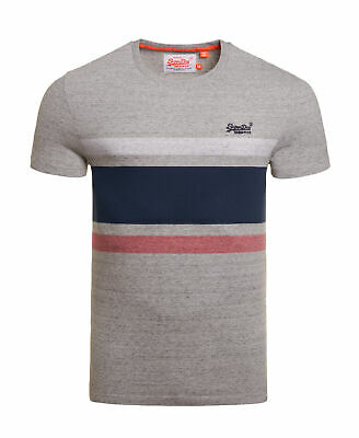 New Mens Superdry Orange Label Hardwick Stripe T-Shirt Harbour Grey Grindle