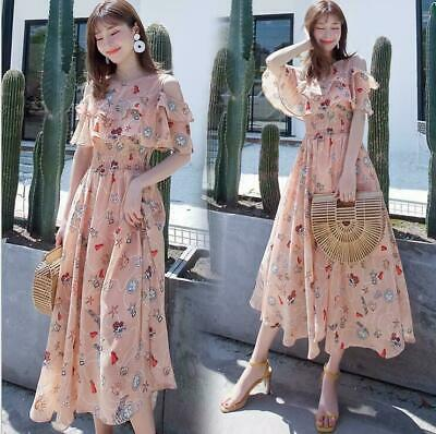 Women's 2019 Summer Floral Chiffon Long Korean Temperament Fairy Strap Dress hot