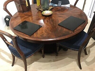 Victorian Claw foot Walnut Inlay Dining Table And 5 Victorian Mahogany Chairs