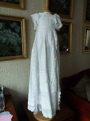 Heavy Embroidered Antique Baby Christening Gown