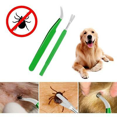Pro 2PCS Tick Removal Set Flea Tweezers Cleaning Tool For Human Body Dog Cat New
