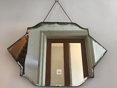 LARGE Rare Vintage Frameless Bevelled Mirror Foxed Patina Distressed 72cm m248
