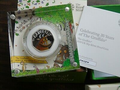 2019 Royal Mint GRUFFALO Silver Proof 50p Coin with Box COA
