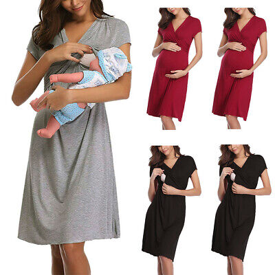 Women Maternity Nursing Baby Breastfeeding Nightdress Pregnancy Sexy Mini Dress