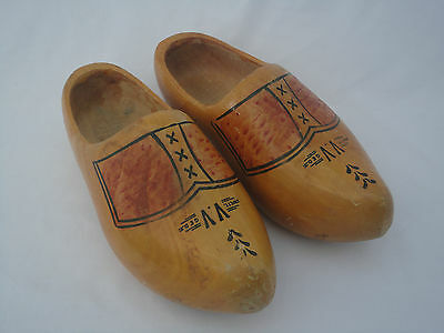 Pair Wett GED Dutch Wooden Clogs Shoes Decorated Used