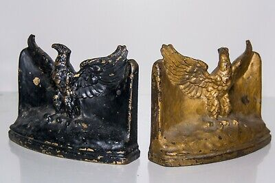 EARLY 1900s PAIR OF HEAVY ANTIQUE CAST BRONZE FOUNDRY AMERICAN EAGLE BOOK ENDS