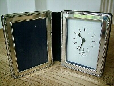 """VINTAGE 3.25"""" x 2.25"""" ENGLISH HM1993 SOLID SILVER PHOTO CLOCK PICTURE FRAME"""
