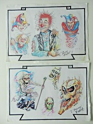 2 vintage tattoo flash sheets TOM PTOLOMEY 1994 NOT MACHINE
