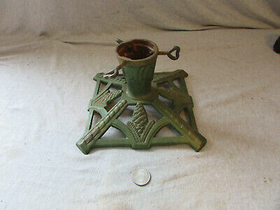 VTG Antique Cast Iron Christmas Tree Stand Holder Green