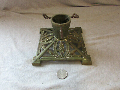 VTG Antique Cast Iron Christmas Tree Stand Holder Green #6